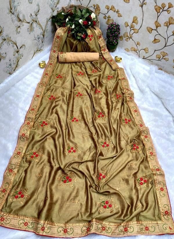 Narayani Fashion House M21 Series 1M21-12M21 Stylish Embroidery Work Vichitra Silk Traditional Wear Sarees Collection