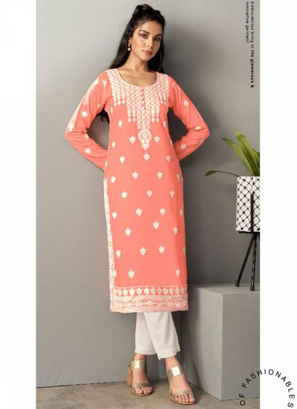 Vamika NX Rooh Pure Rayon Viscose With Lucknowi Work Kurtis With Pants Collection