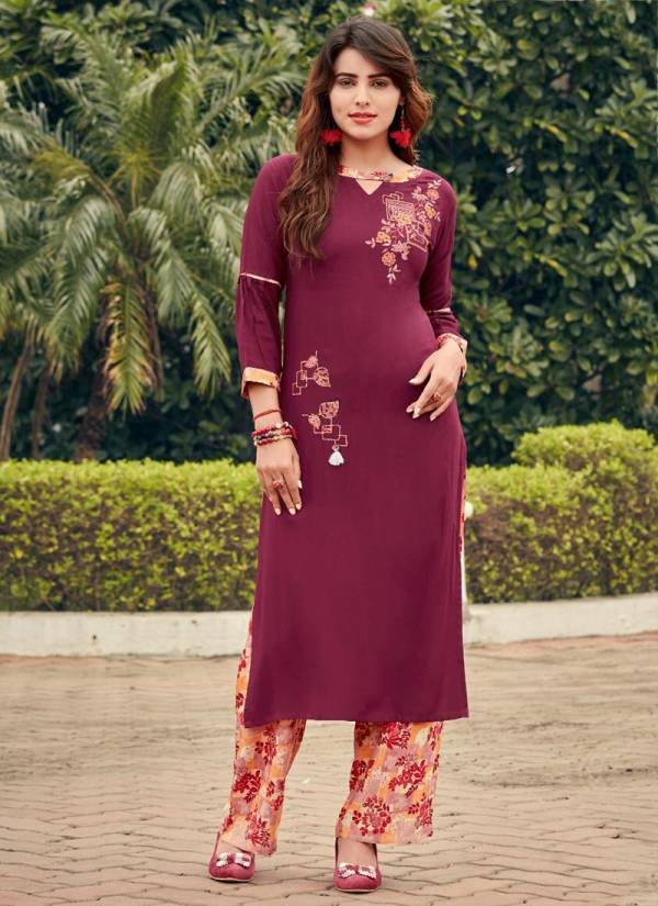 Ladies Flavour Colour Kit Series 1001-1007 Exclusive Embroidery Work Rayon Party Wear Kurti Collection