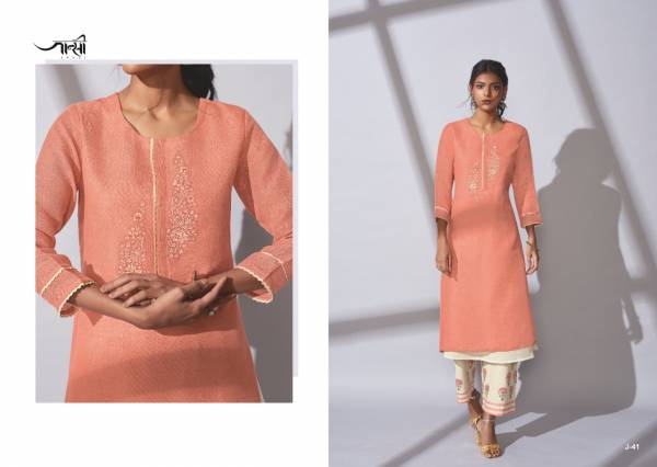 Om Tex Shadow Linen Cotton Fancy Work Stylish Look Kurtis With Palazzo Collection