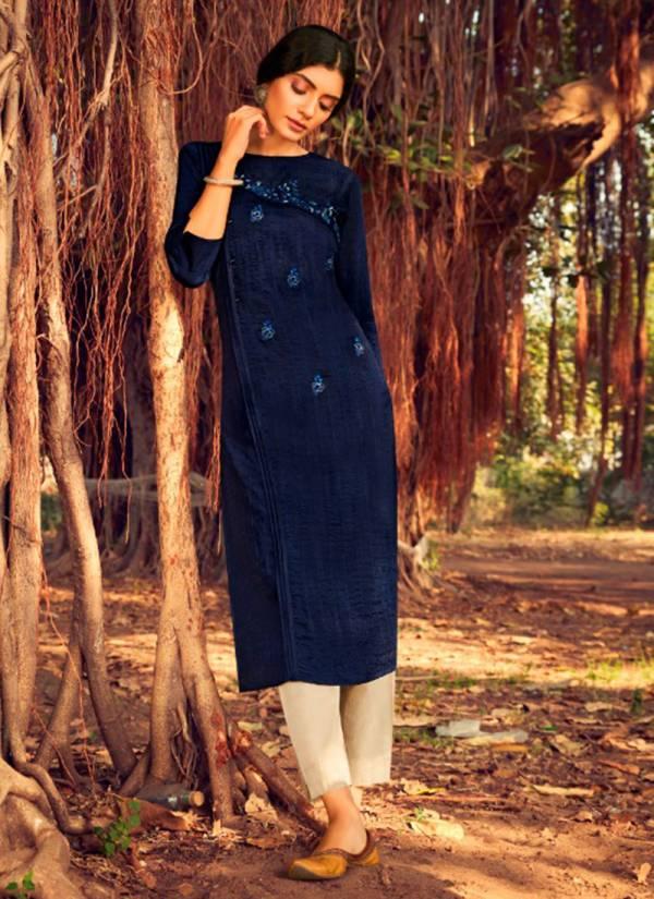 Kalaroop Zili Series 12337-12342  Lining Silk With Fancy Hand Work New Designer Kurtis Collection