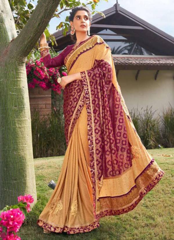 Kalista Cedbury Lycra With Foil Printed Latest Designer Party Wear Sarees Collection