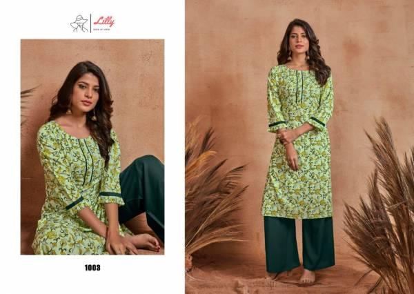 Lilly Mumtaj Palazzo Series 1001-1006 Rayon Slub With Printed New Designer Daily Wear Kurtis With Palazzo Collection