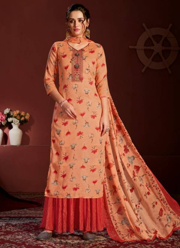 Floreon Trends Royal Tone Glace Satin Cotton With Fancy Embroidery Work Readymade Palazzo Suits Collection