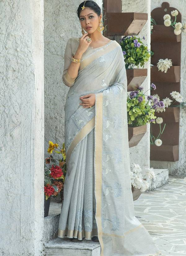 Nari Fashion Mahir Linen Cotton Embroidery Work Festival Wear Designer Sarees Collection
