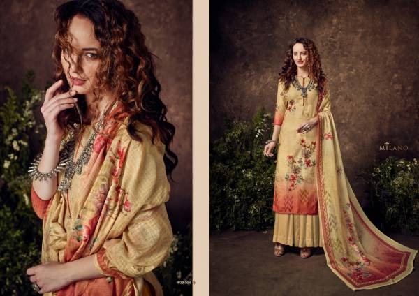 Bellize Milano Series 609-001 - 609-009 Pure Muslin Cotton With Digital Print Exclusive Heavy Hand Work Palazzo Suits Collection