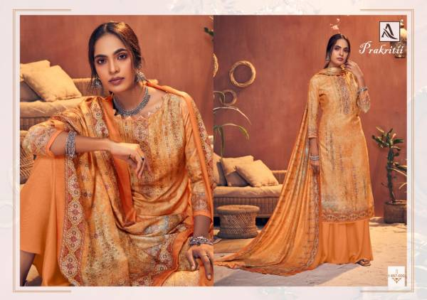 Alok Suits Prakritii Series 667-001 - 667-010 Pure Wool Pashmina Digital Print With Swarovski Diamond Work Trendy Look Suits Collection