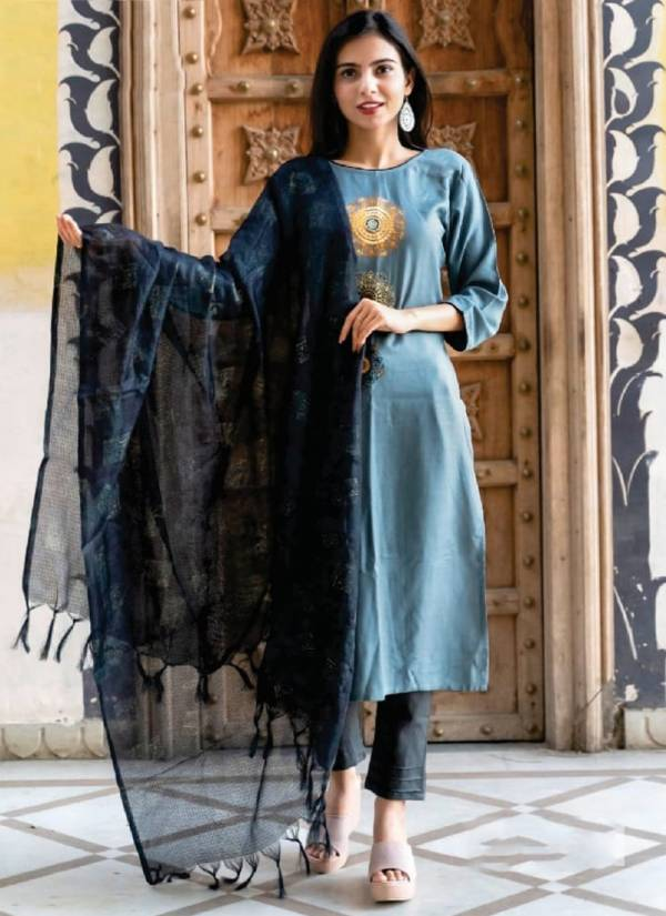 Luxuriya Forecast Vol 3 Series 3001-3004 Premium Rayon Slub Embroidery Work New Straight Cut Kurtis With Dupatta Collection