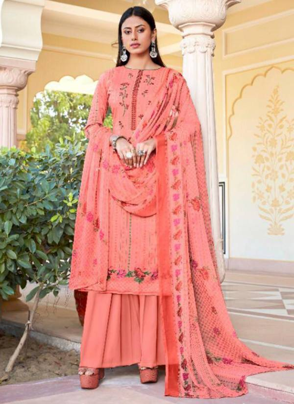 Aadesh NX Jamdani Pure Cambric Cotton Digital Print With Embroidery Work Palazzo Suits Collection