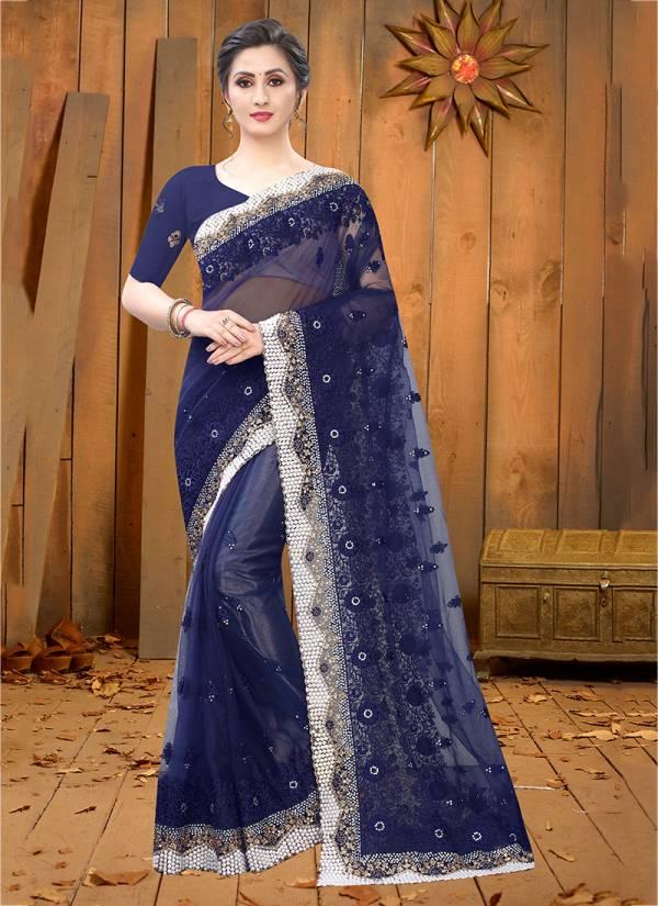 Nari Fashion Desire Series 751-760 Heavy Net Resham & Badal Jari Embroidery Work Party Wear Sarees Collection