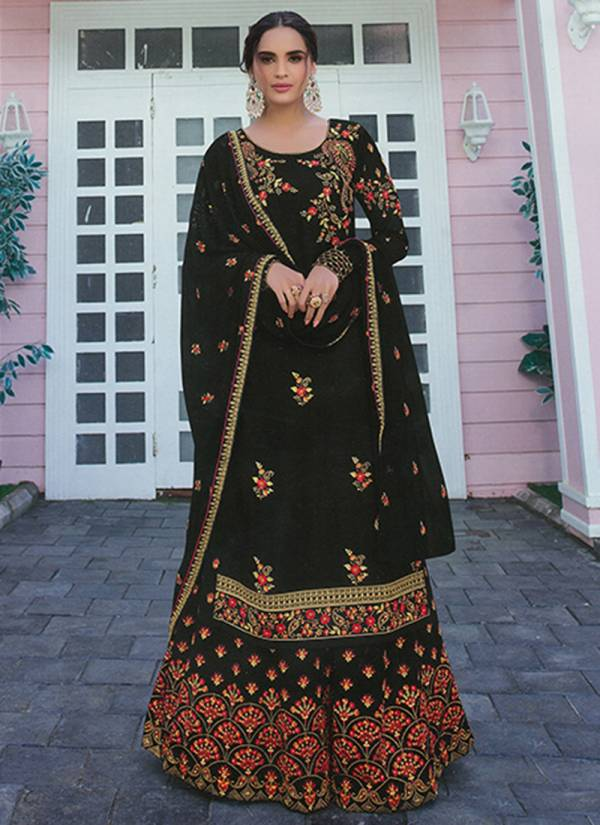 An Bazaar Avon Series 5011A-5011D Faux Georgette With Embroidery Work Designer Festival Wear New Designer Palazzo Suits Collection