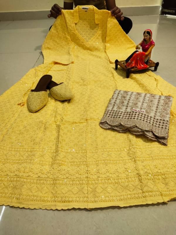 VE Cotton Chikankari Sequence Work Anarkali With Palazzo And Punjabi Jutti Collection (38-48 Sizes)