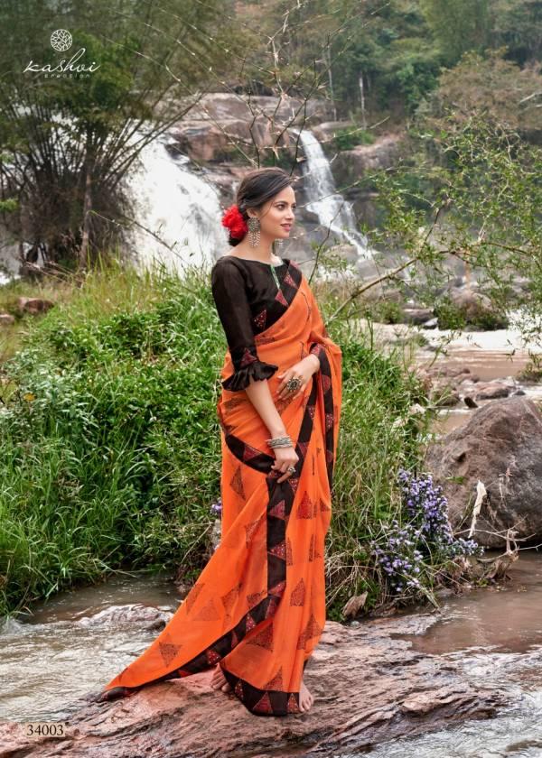 Kashvi Creation Rutba Series 34001-34010 Chiffon With Fancy Swarovski Diamond Work Festival Wear Sarees Collection