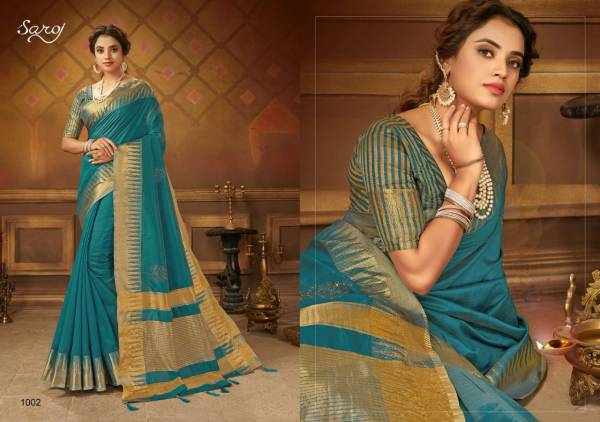 Saroj Juhi Cotton Silk with Zari Pallu and swarovski Butta Work Designer Sarees Collection