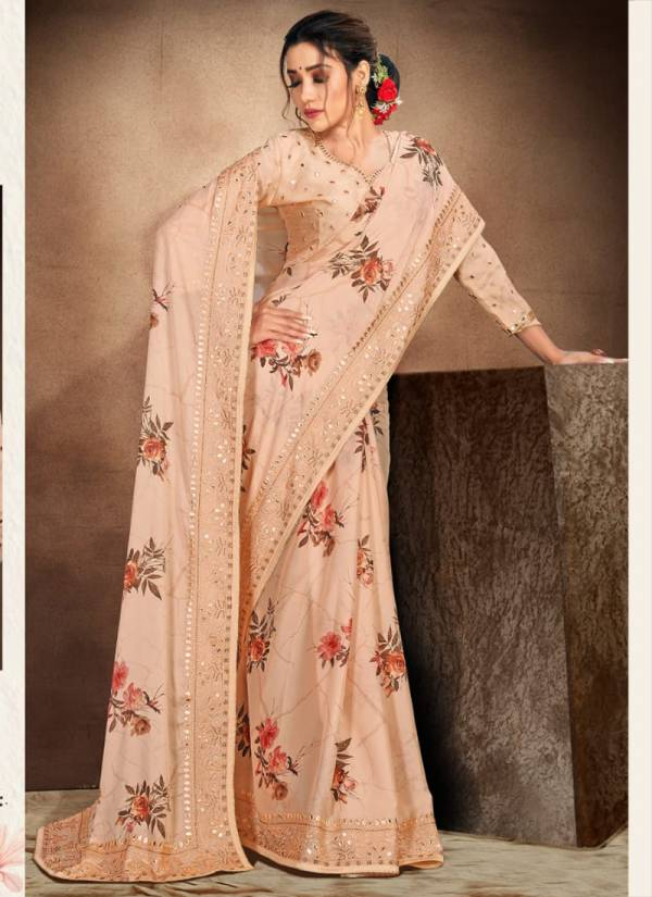 Nari Fashion Artful Soul Heavy Resham Embroidery Work With Digital Printed Work Designer Sarees Collection