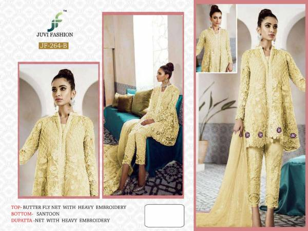 Juvi Fashion New Colours Net With Heavy Embroidery & Sequence Work With Pearl Moti  Front & Back Both Side Work Salwar Suit Collection