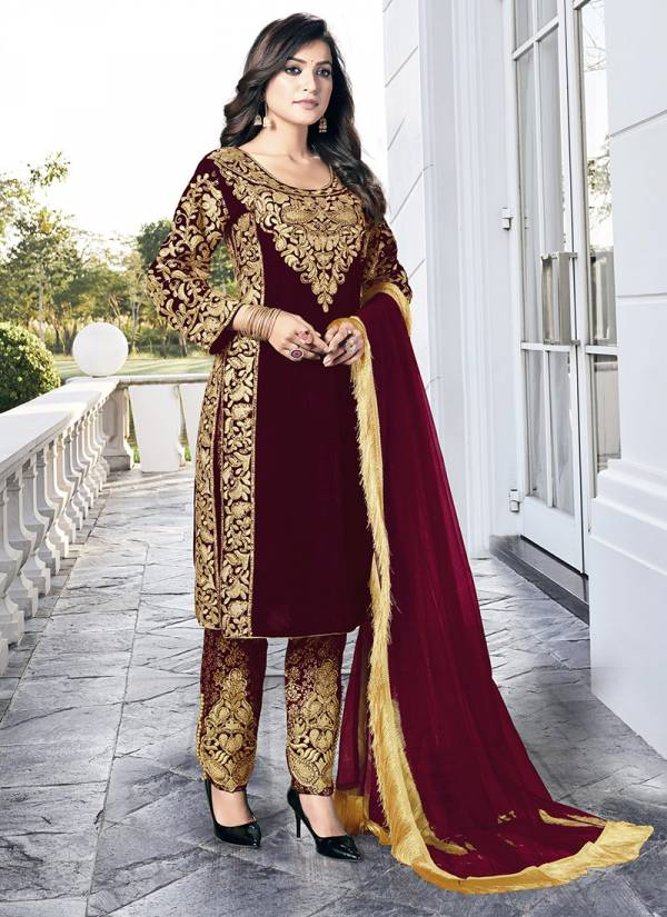 Senhora Dresses Goldy Series 20001-20004 Heavy Velvet With Fancy Embroidery Work & Stone Work Party Wear Salwar Suits Collection