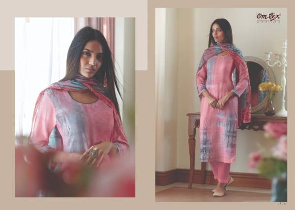 Om Tex Era Series 1301-1308 Cotton Satin Digital Printed With Stylish Hand Work Designer Palazzo Suits Collection