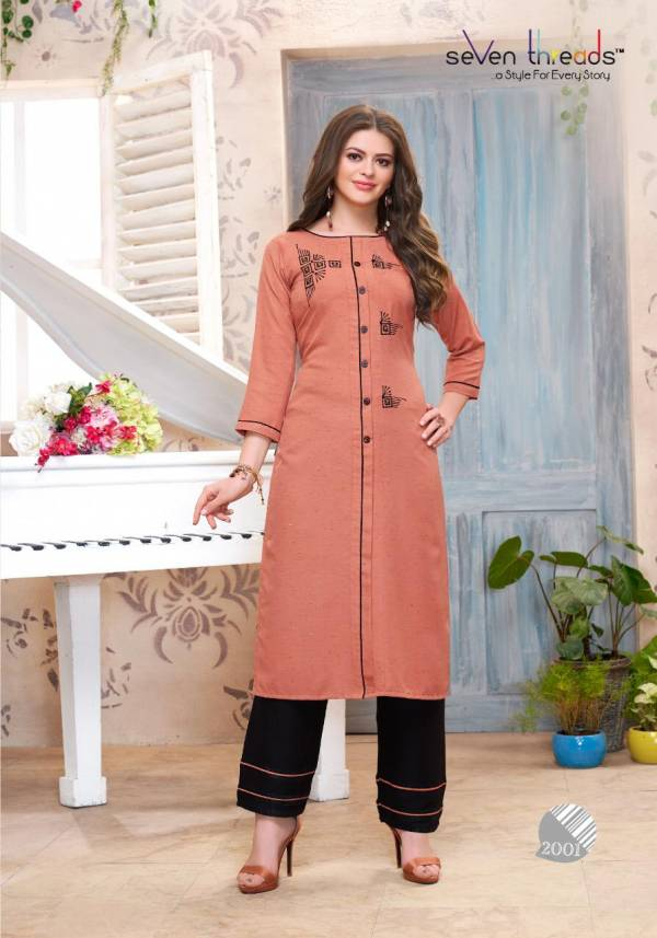 Seven Threads B Dots Rayon With Embroidery Hand Work Kurtis With Palazzo Collection