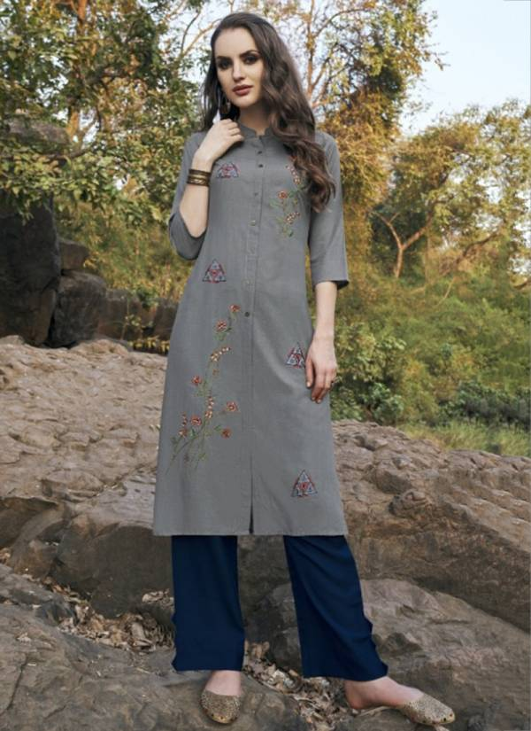 Tunic House Netal Series 2052-2055 Soft Cotton With Heavy Embroidery Work Straight Cut Daily Wear Kurtis Collection