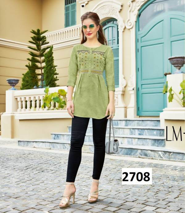 Kessi  Autograph Cotton Flex With Embroidery Work Reguler Wear Ladies Top Collection
