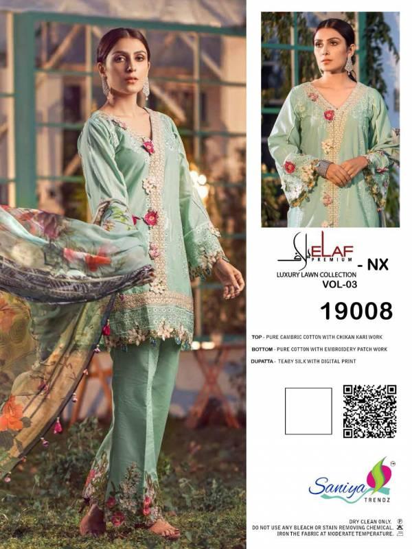 Saniya Trendz Elaaf -3 NX Series 19008-19010 Pure Cambric Cotton With Chikan Kari Work New Designer Pakistani Suits Collection