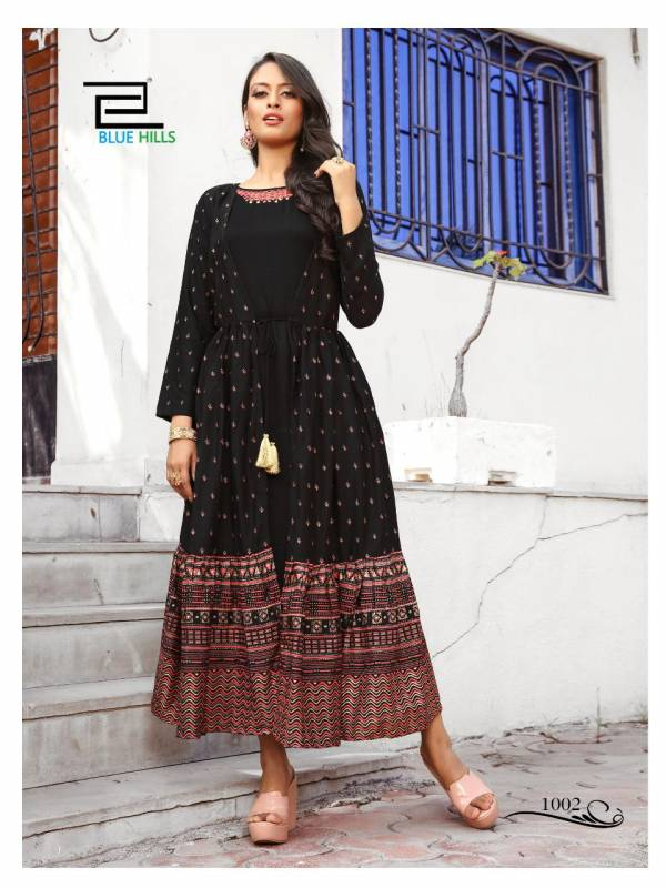 Vee Fab Ace Series 1001-1004 Rayon With Attached Jacket Style Hand Work Designer Casual Wear Kurtis Collection