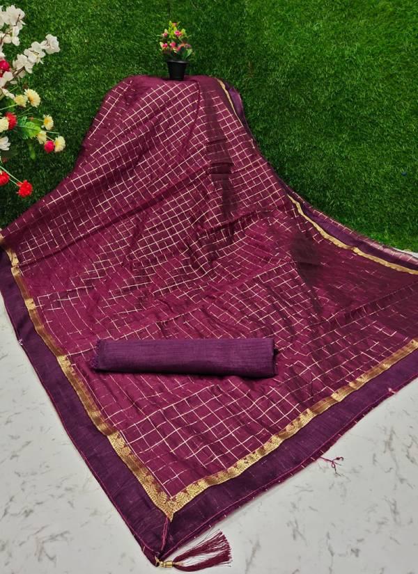 Green Chilli Cotton With Zari Border And Checks Print Designer Festival Sarees Collection