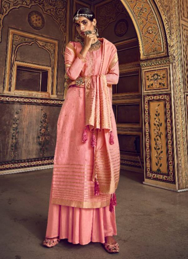 Ibiza Pehnava Series 646-651 Pure Jacquard Silk With Embroidery Work Festival Wear Palazzo Suits Collection