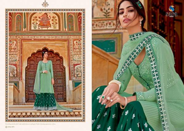 Sara Trendz Navya Vol 2 Series 1071-1074 Chinnon With Heavy Embroidery Work Latest Designer Sharara Suits Collection