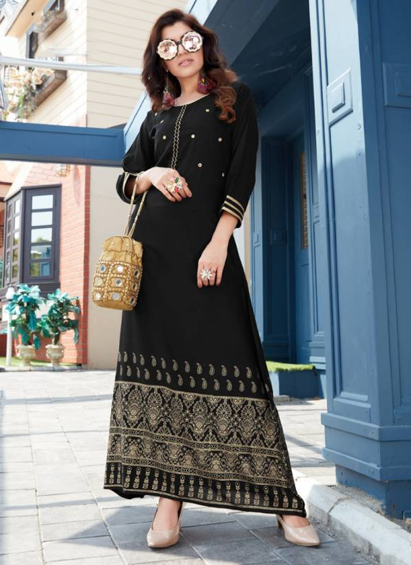 Blue Hills Hot Star Vol 3 Series 101BHH-106BHH Rayon Long Gown With Gold print And Mirror Hand Work Casual Wear Kurti Collection