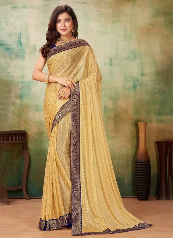 Glam Elegance Zeeya Hit Colour Vol 5 Series 1045-1048 Lycra Lace Border Print Work Sarees Collection
