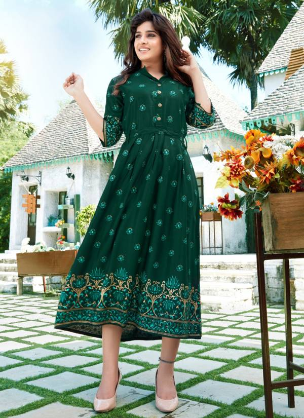 Blue Hills Vdesi Series 101-106 Foil Printed  Rayon New Designer Fancy Kurtis Collection
