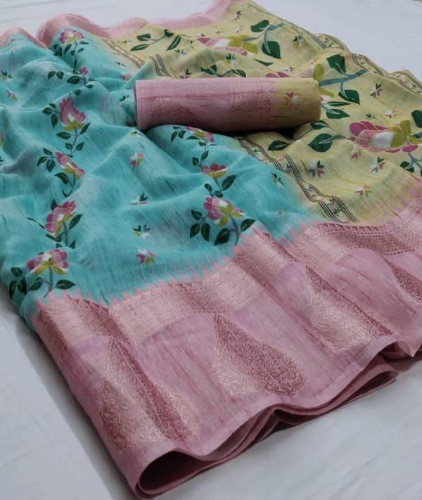 Rajtex Mrunal Silk Linen Digital Jacquard Border Designer Saree Collections