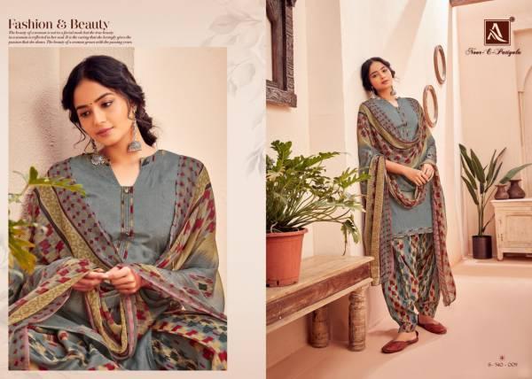 Alok Suit Noor-E-Patiyala Series 540-001  - 540-010 Pure Jam Jacquard With Fancy Printed Regular Wear Patiyal Suits Collection