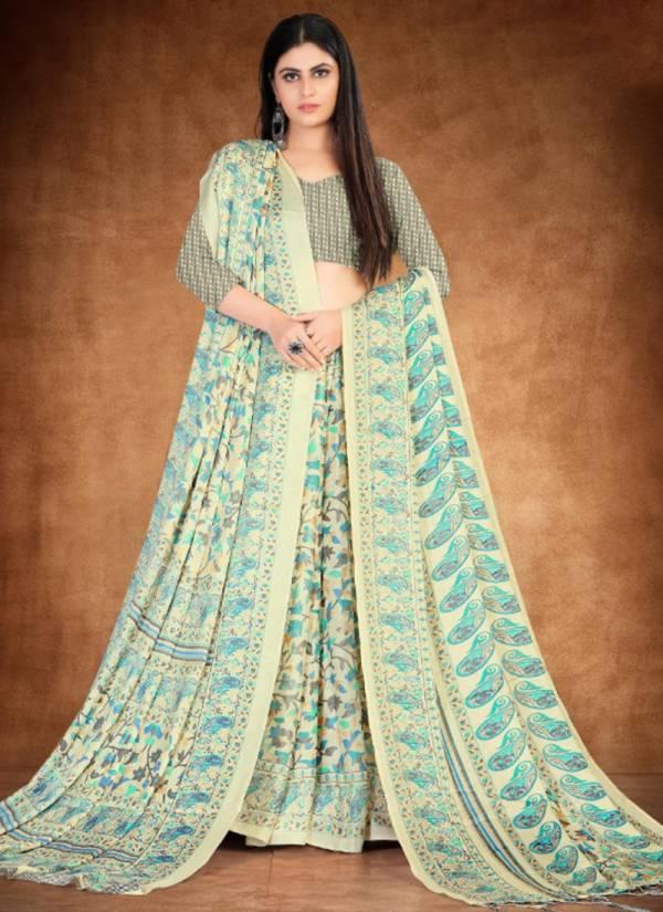 Silk Villa Pashmina Vol 14 Series 14001-14009 Winter Season Special Digital Printed Pashmina Silk Casual Wear Sarees With Shawl Collection