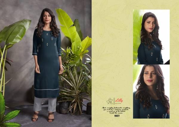 Lilly Raj Shree Series 1020-1027 Pure Rayon With Hand Work Regular Wear Kurtis With Pants Collection