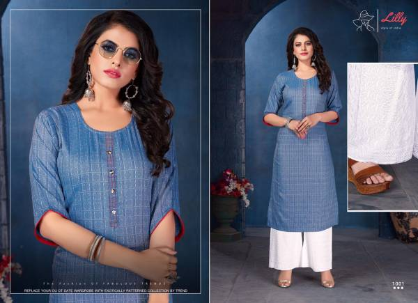 Lilly Lucknowi Baarish Lurex With Neck Work Kurtis With Palazzo Collection