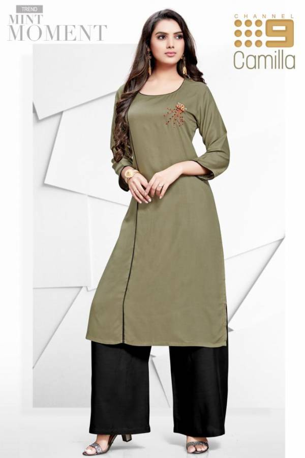 Channel 9 Camila Super Soft Rayon With Embroidery Khata Work Kurtis With Palazzo Collection