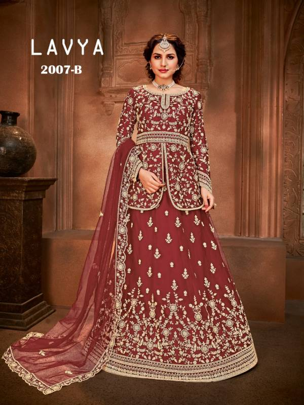 Lavya Net With Heavy Embroidery And Stone Work Wedding Wear Designer Lehenga Suits Collection