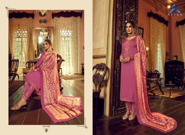 Alisa Sahir Series 6201-6206 Satin Georgette With Heavy Work & Additional Diamond Work Party Wear Suits Collection