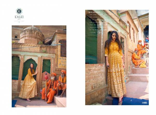 Kalki Fashion Womaniya Vol 3 Series 14001-14006 Rayon With Gold Foil Printed Gorgeous Gown With Long Kurti Collection