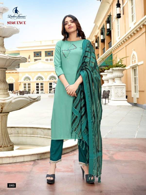 Ladies Flavour Sequence Series 1001-1008 Rayon Embroidery Work With Khatli Work New Designer Casual Wear Readymade Suits Collection
