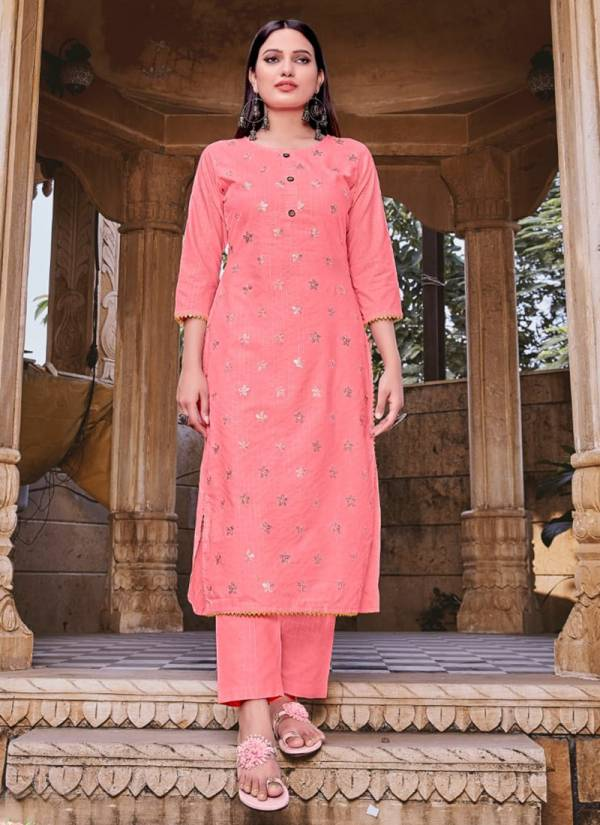Syasii Rosemeen Series 1001-1005 Viscose Weaving Stripe With Embroidery Work Long Kurtis With Pants Collection