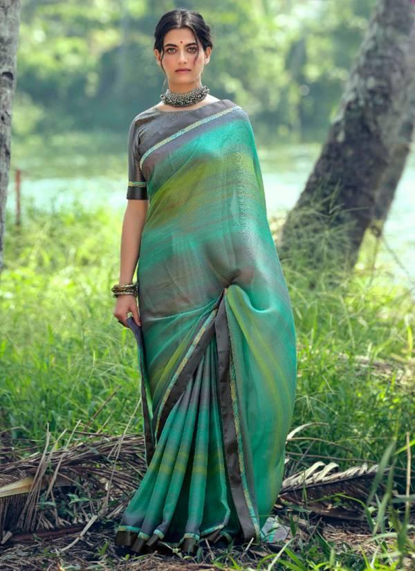 Kashvi Creation Hunar Moss Chiffon With Fancy Swarovski Work Sarees Collection