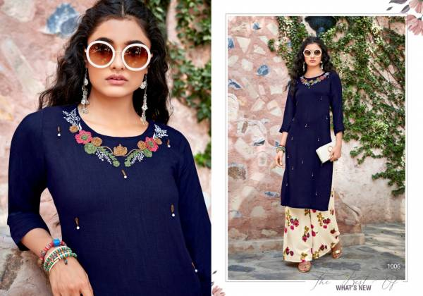 Sweety Fashion Voot Rayon Designer Long Kurti With Palazzo Collection
