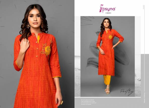 Psyna Poetry Series 2001-2008 Latest Fancy Cotton With Designer Embroidery & Hand Work Casual Wear Kurti With Pant Collection