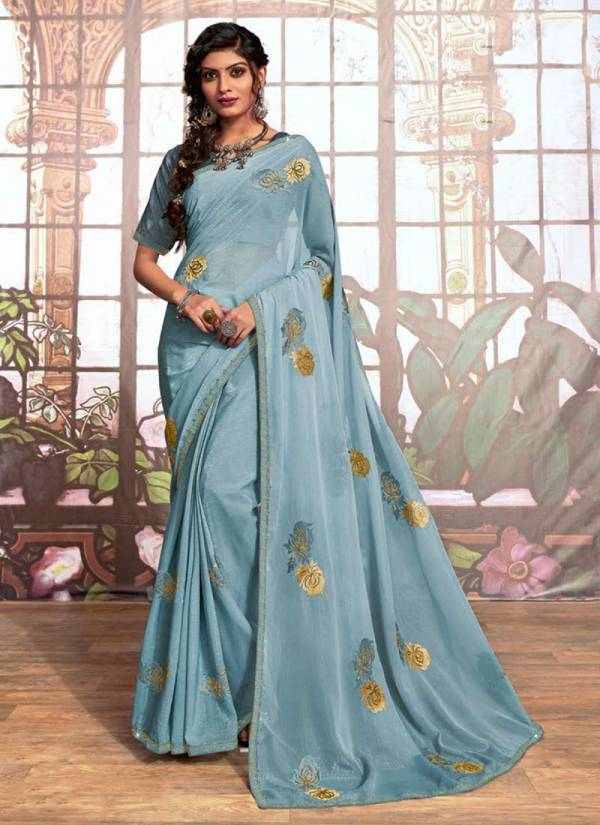 Saroj Star World Series 135001-135006 Simmer Fabric With Swarovski Hand Work New Designer Adorable Look Sarees Collection