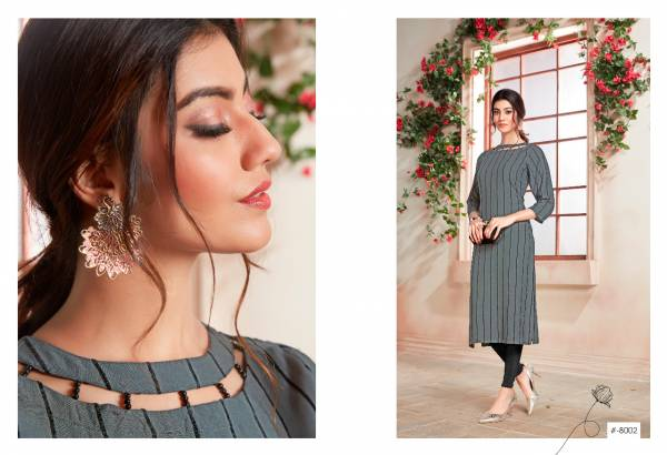 Sweety Fashion Gravity Vol 8 Rayon With Velvet Stripes Kurtis Collection
