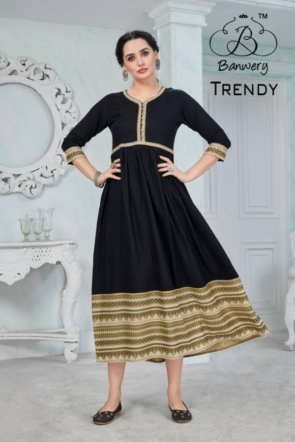 Banwery Trendy Heavy Rayon With Fancy Printed And Gota Patti Work Casual Wear Kurti Collection